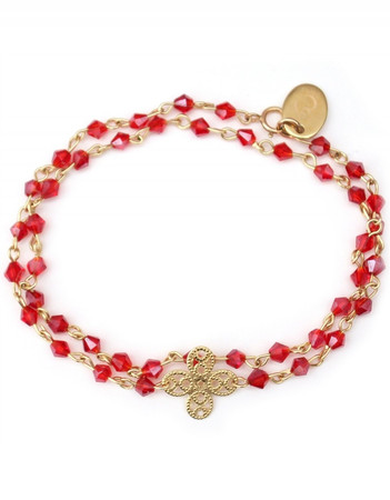 Gold Plated Bracelet with Shamrock Charm and Red Pearls Estelle