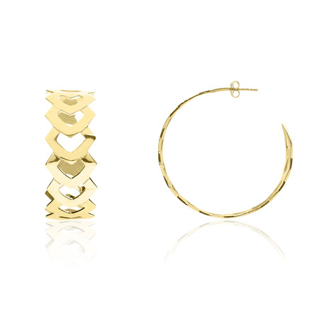 Laurus Openwork Graphical Large Golden Silver Loop Earrings