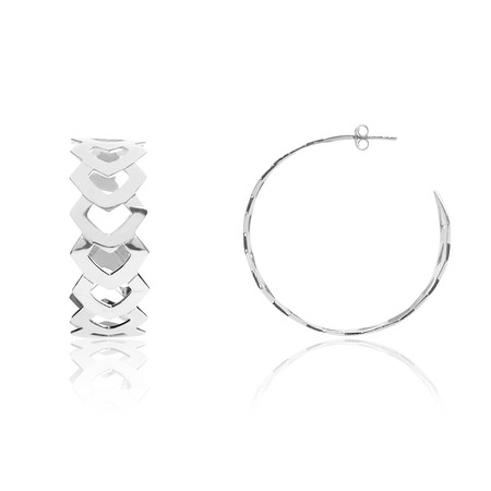 Laurus Openwork Graphical Large Silver Loop Earrings