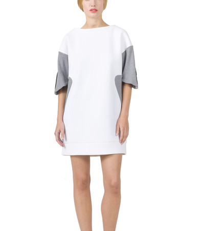 Neoprene Sweater Dress with Grey Sleeves