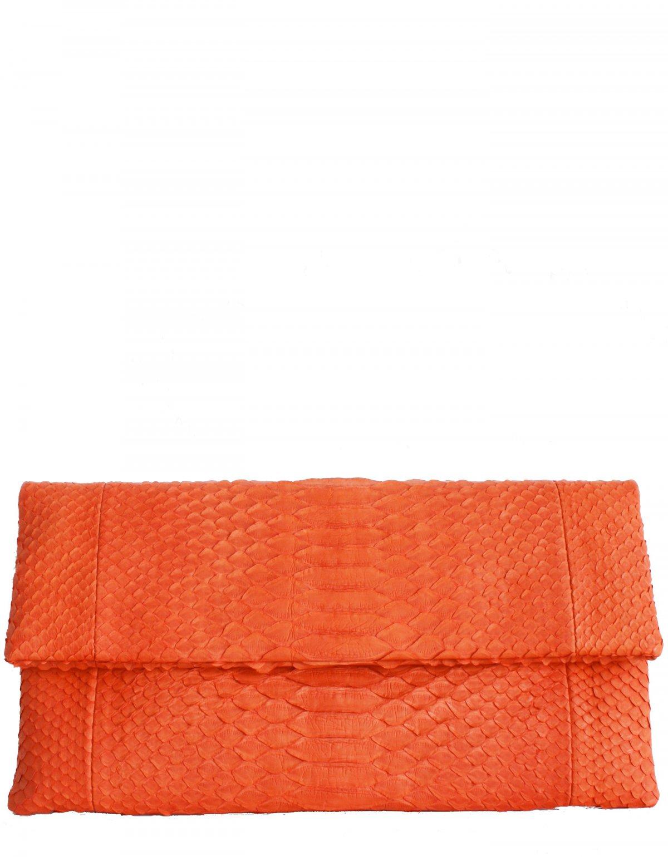 Orange Tequila Sunrise Python Leather Clutch - Essentiel