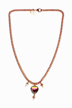 Plated Rose Gold Brass Necklace with a Heart Charm JCH3