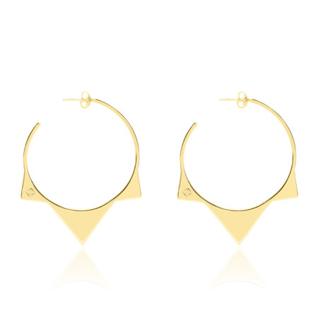 Tribus Pointed Thin Golden Silver Loop Earrings
