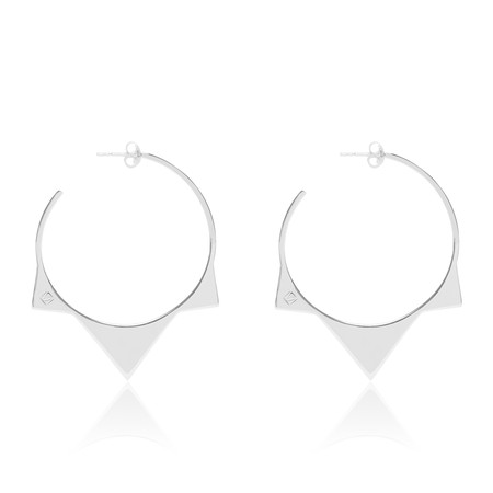 Tribus Pointed Thin Silver Loop Earrings