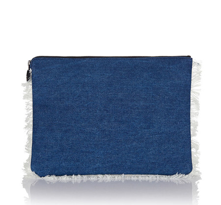 Oversized Clutch Bag Blue Denim