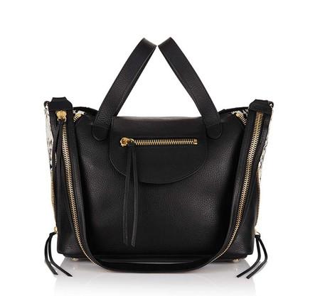 Utility Medium Handbag in Black & White Deville