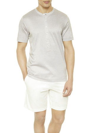 FRESH TOUCH Grandad-neck top and shorts pyjama set
