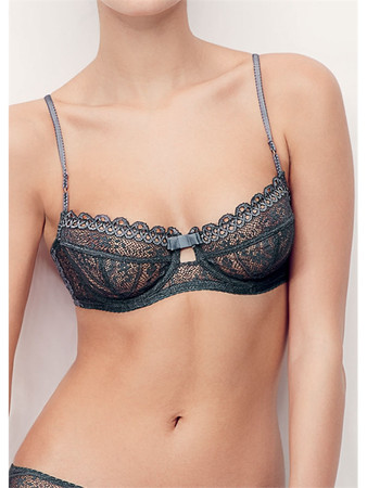 Huit Diffusion French Kiss Grey Half Cup Bra