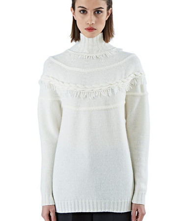 Roll Neck Fringed Sweater