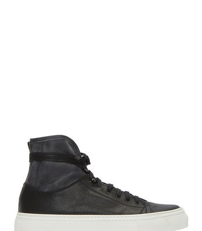 Worn Suede Panelled High-Top Sneakers