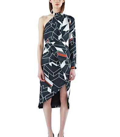 Zaha Geometric Print One Shoulder Dress