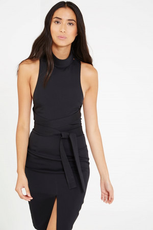 Lavish Alice Off White Plunge Tie Strap & Side Detail Mini Dress