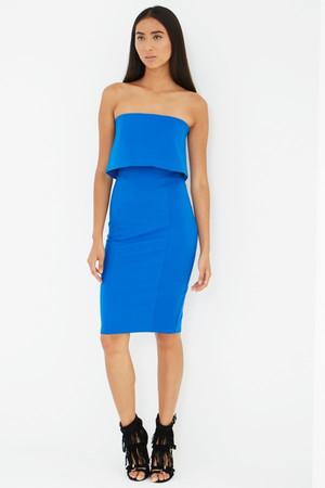 Lavish Alice Blue Bandeau Asymmetric Hem Midi Dress