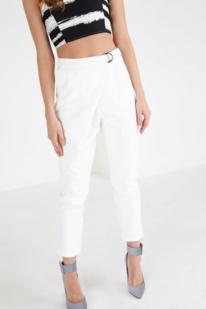 White Crossover D-Ring Peg Leg Trousers