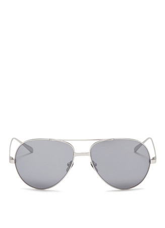 22k white gold plated titanium aviator sunglasses