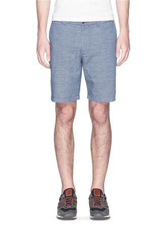 """9"""" Stanton short in crosshatch Irish cotton-linen"""