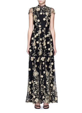 'Aaliyah' metallic floral embroidered gown