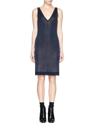 'Abigale' dot piqué knit sweater dress