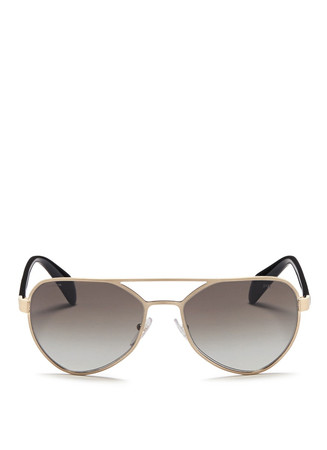 Acetate temple metal angular aviator sunglasses