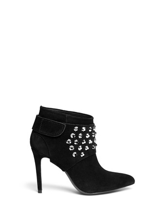 'Adra' strass detachable glove suede ankle boots