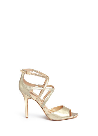 'Aeryn' metallic leather strappy sandals
