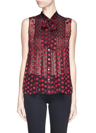 'Aidan' polka dot burnout chiffon blouse