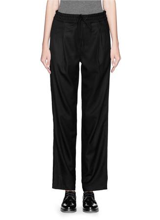 'Alison' elastic waist wool melton pants