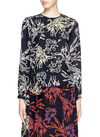 'Alyssa' reef print silk georgette blouse