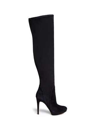 'Amber' stretch suede thigh high boots