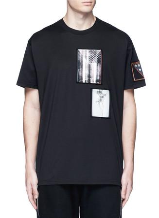 American flag print patch T-shirt