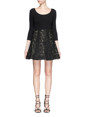 'Amie' floral lace skirt stretch dress