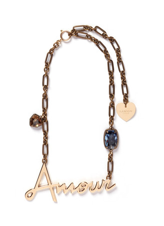 'Amour' crystal brass necklace