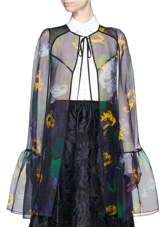 'Angela' floral print silk organza cape
