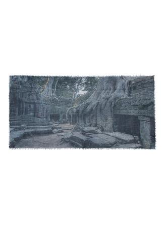 'Angkor Wat' print modal-cashmere scarf