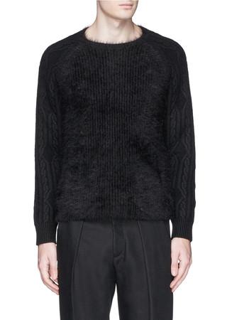 Angora body cable knit sweater