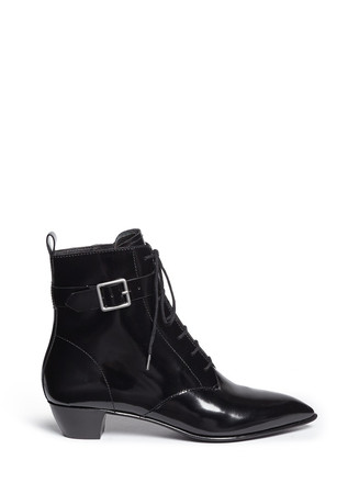 Ankle strap leather lace-up combat boots