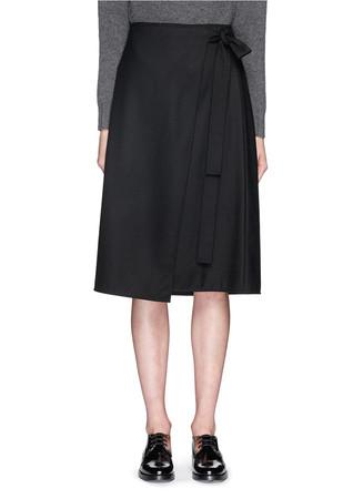 'Anning' wrap front midi skirt