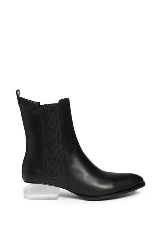 'Anouck' Plexiglas heel leather ankle boots