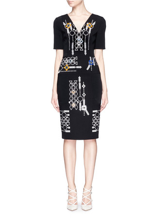 'Arcade' pinball embroidery V-neck dress