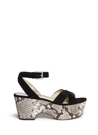 'Ariel' snake effect leather wedge suede sandals