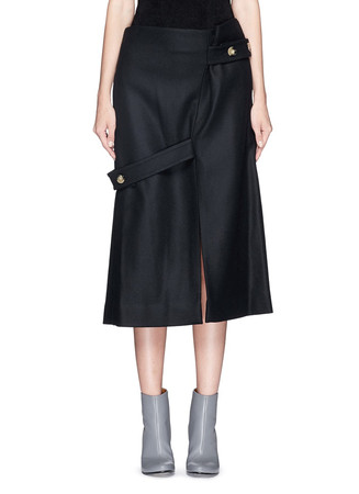 Asymmetric belted wool felt midi skirt