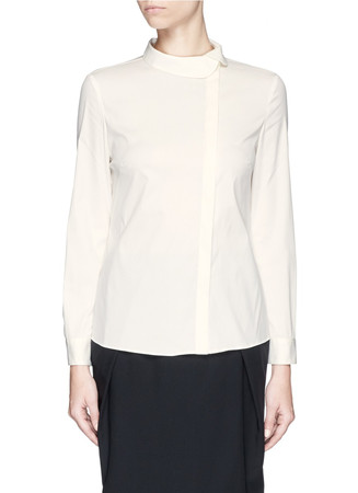 Asymmetric collar cotton poplin shirt