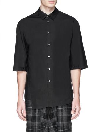 Asymmetric cutout hem stretch poplin shirt