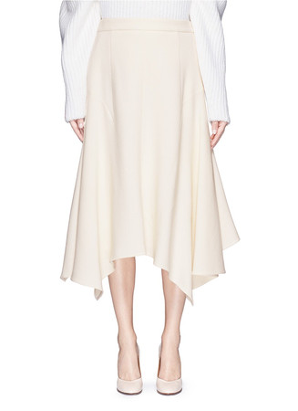Asymmetric hem wool crepe skirt