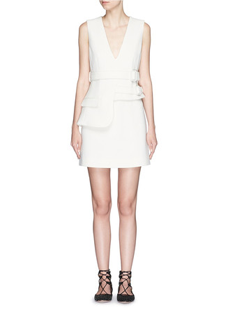 Asymmetric overlay wool crepe belted dress