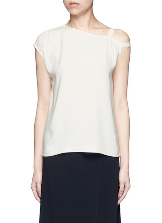 Asymmetric strap one shoulder crepe top