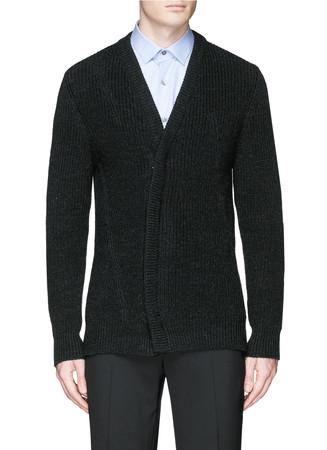 Asymmetric zip front wool cardigan