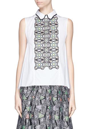 Atom embroidery insert poplin shirt