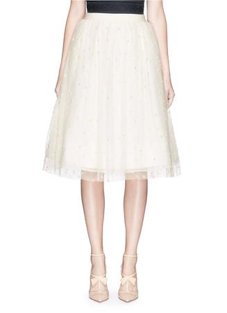 'Aubreanna' pearl embellished midi skirt