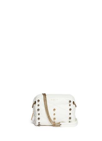 'Baby Sugar' metal pearl leather crossbody bag